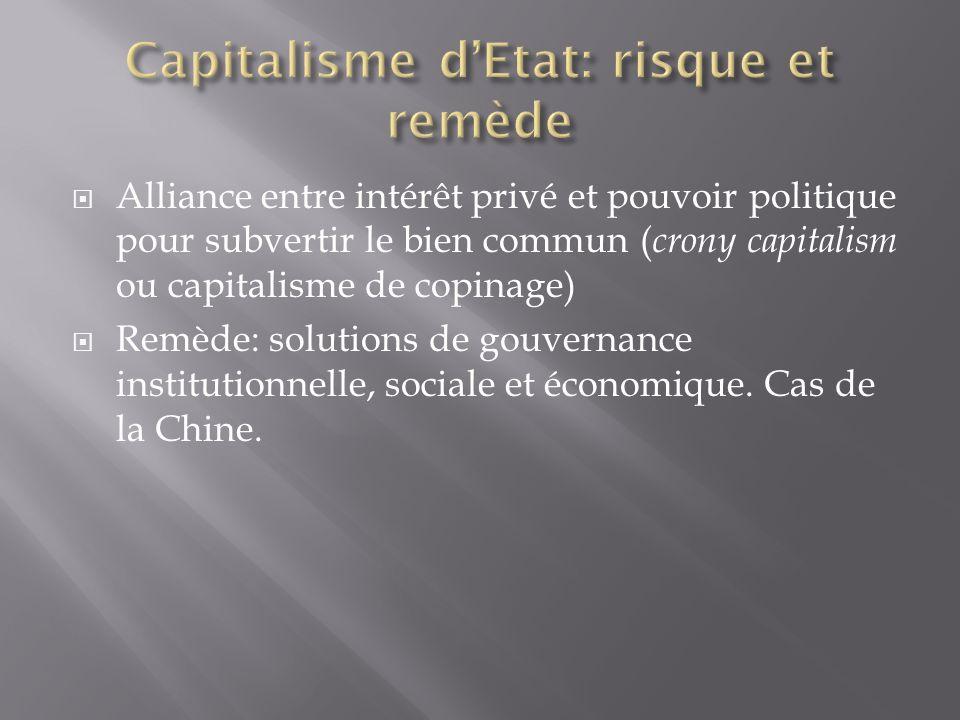 Alliance entre intérêt privé et pouvoir politique pour subvertir le bien commun ( crony capitalism ou capitalisme de copinage) Remède: solutions de go