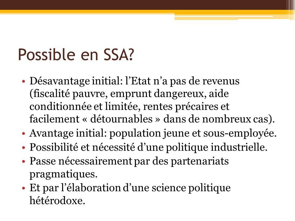 Possible en SSA? Désavantage initial: lEtat na pas de revenus (fiscalité pauvre, emprunt dangereux, aide conditionnée et limitée, rentes précaires et