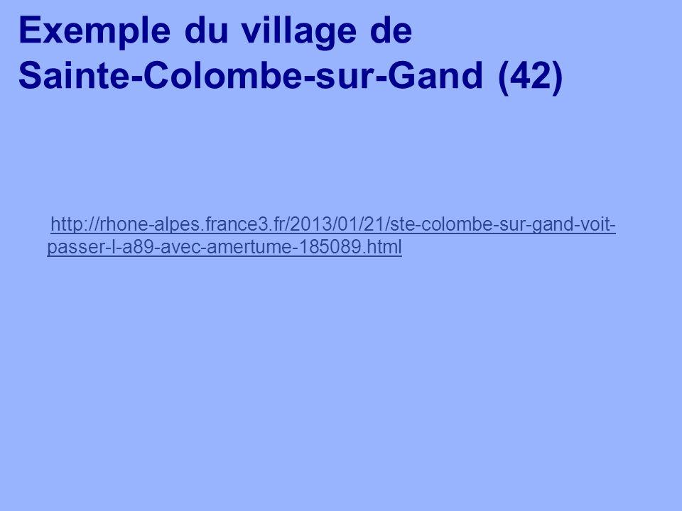 Exemple du village de Sainte-Colombe-sur-Gand (42) http://rhone-alpes.france3.fr/2013/01/21/ste-colombe-sur-gand-voit- passer-l-a89-avec-amertume-1850