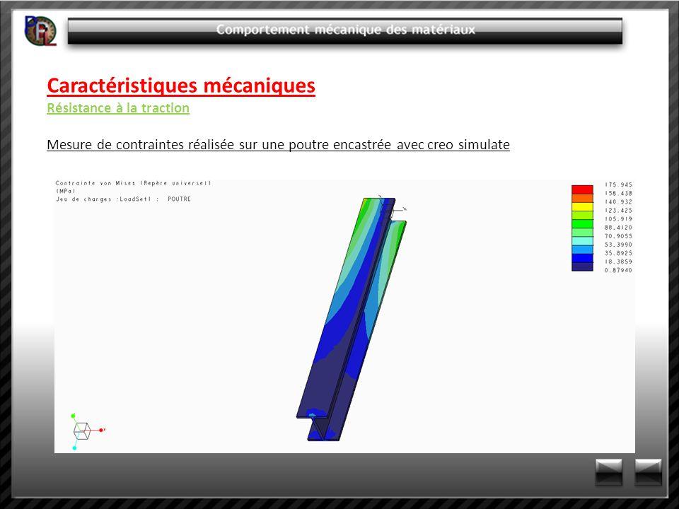 Caractéristiques mécaniques Résistance à la traction Mesure de contraintes réalisée sur une poutre encastrée avec creo simulate