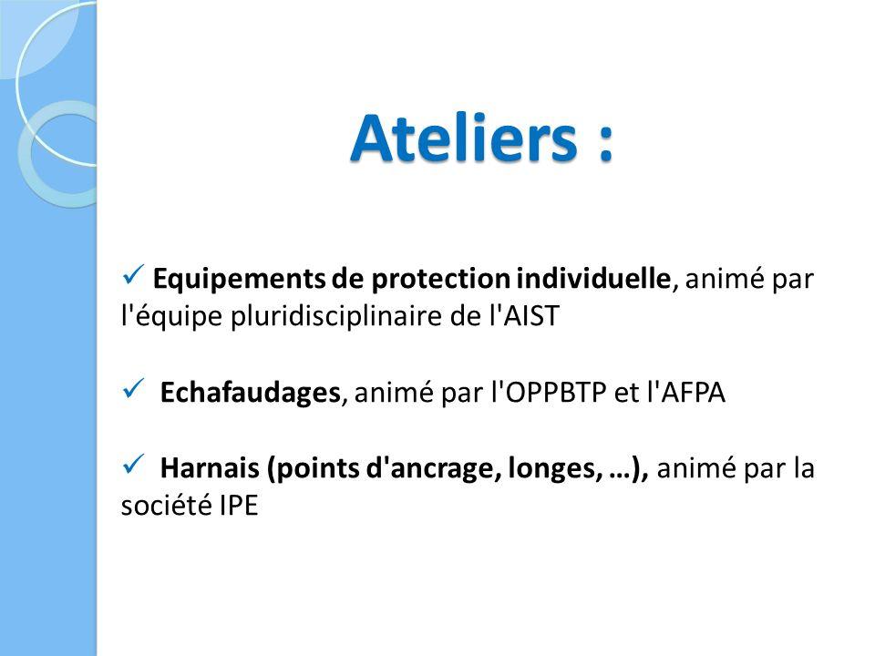 Ateliers : Equipements de protection individuelle, animé par l équipe pluridisciplinaire de l AIST Echafaudages, animé par l OPPBTP et l AFPA Harnais (points d ancrage, longes, …), animé par la société IPE