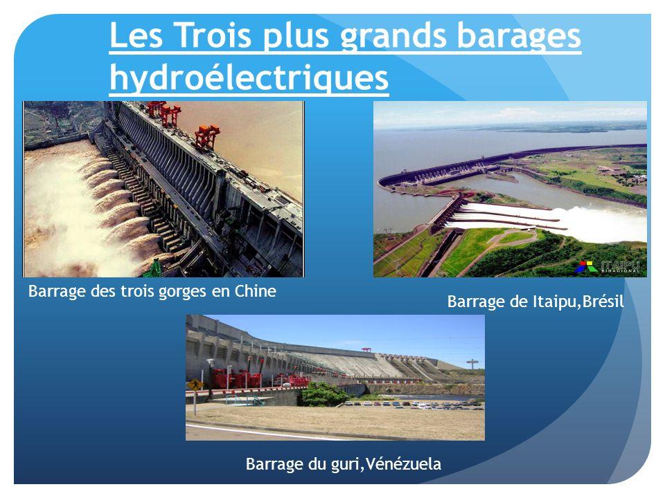 Les Trois plus grands barages hydroélectriques Barrage des trois gorges en Chine Barrage de Itaipu,Brésil Barrage du guri,Vénézuela