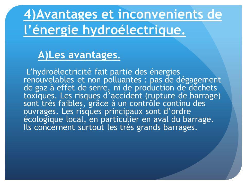 4)Avantages et inconvenients de lénergie hydroélectrique. A)Les avantages. Lhydroélectricité fait partie des énergies renouvelables et non polluantes