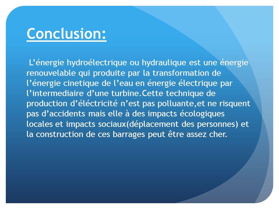 Conclusion: Lénergie hydroélectrique ou hydraulique est une énergie renouvelable qui produite par la transformation de lénergie cinetique de leau en é