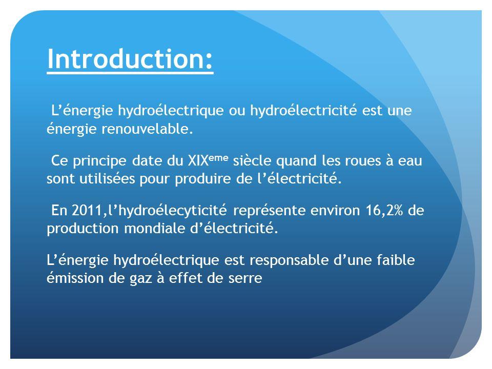 Introduction: Lénergie hydroélectrique ou hydroélectricité est une énergie renouvelable. Ce principe date du XIX eme siècle quand les roues à eau sont