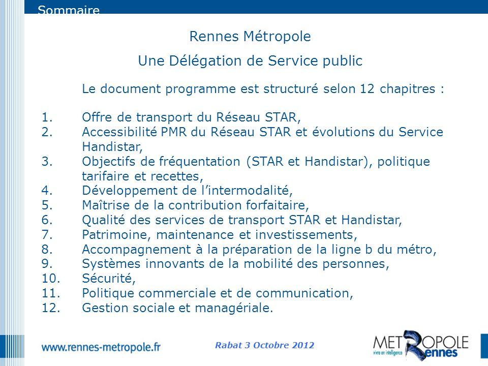 Sommaire Rennes Métropole Une Délégation de Service public Rabat 3 Octobre 2012 Le document programme est structuré selon 12 chapitres : 1.Offre de tr