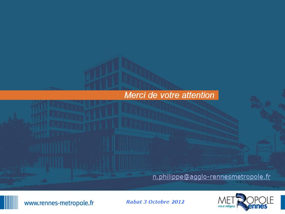 Merci de votre attention n.philippe@agglo-rennesmetropole.fr Rabat 3 Octobre 2012