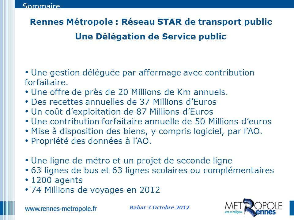 Sommaire Rennes Métropole : Réseau STAR de transport public Une Délégation de Service public Rabat 3 Octobre 2012 Une gestion déléguée par affermage a