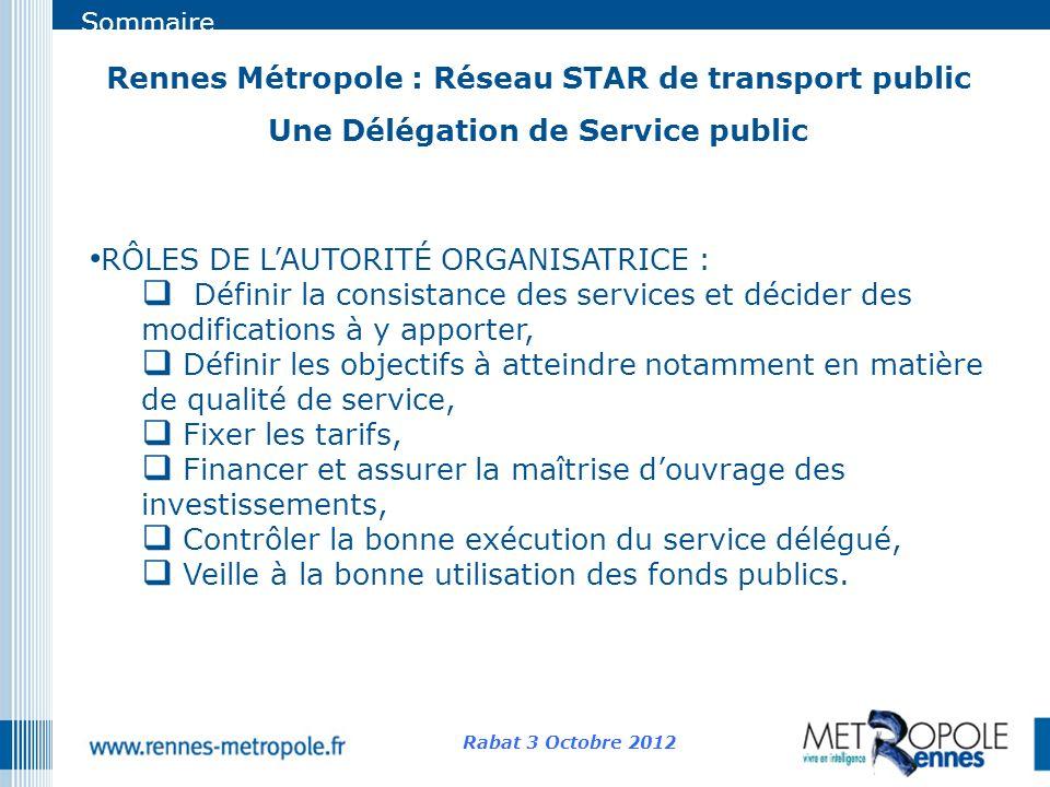 Sommaire Rennes Métropole : Réseau STAR de transport public Une Délégation de Service public Rabat 3 Octobre 2012 RÔLES DE LAUTORITÉ ORGANISATRICE : D