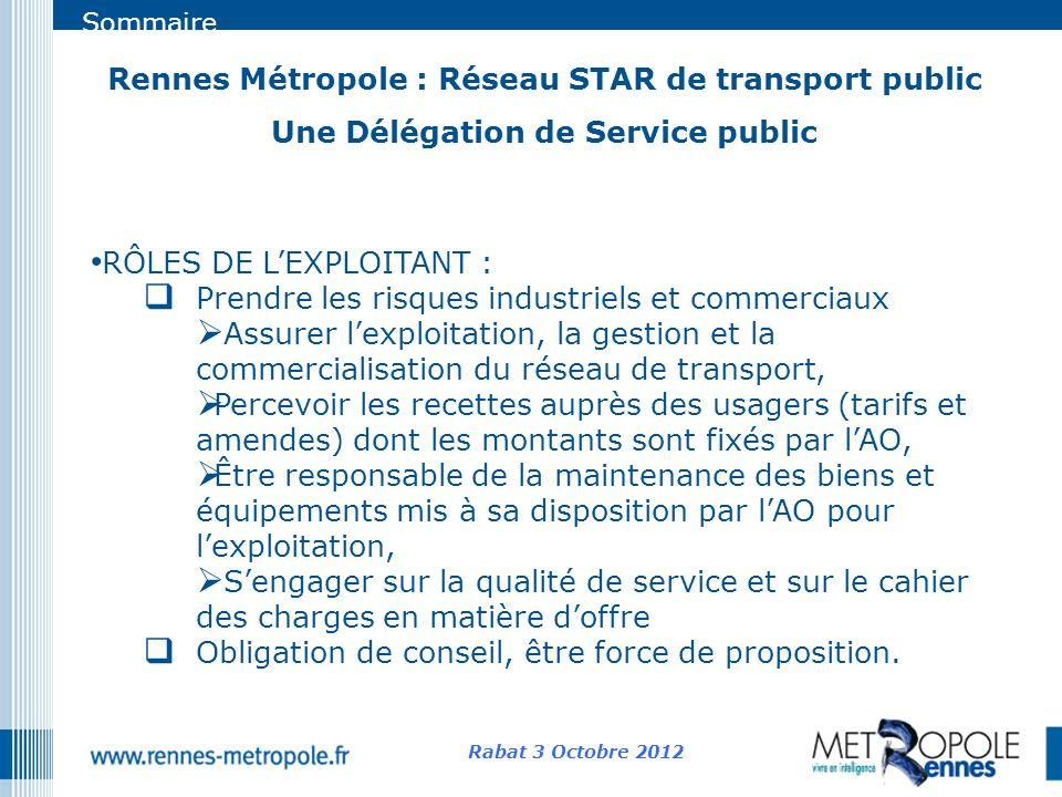 Sommaire Rennes Métropole : Réseau STAR de transport public Une Délégation de Service public Rabat 3 Octobre 2012 RÔLES DE LEXPLOITANT : Prendre les r