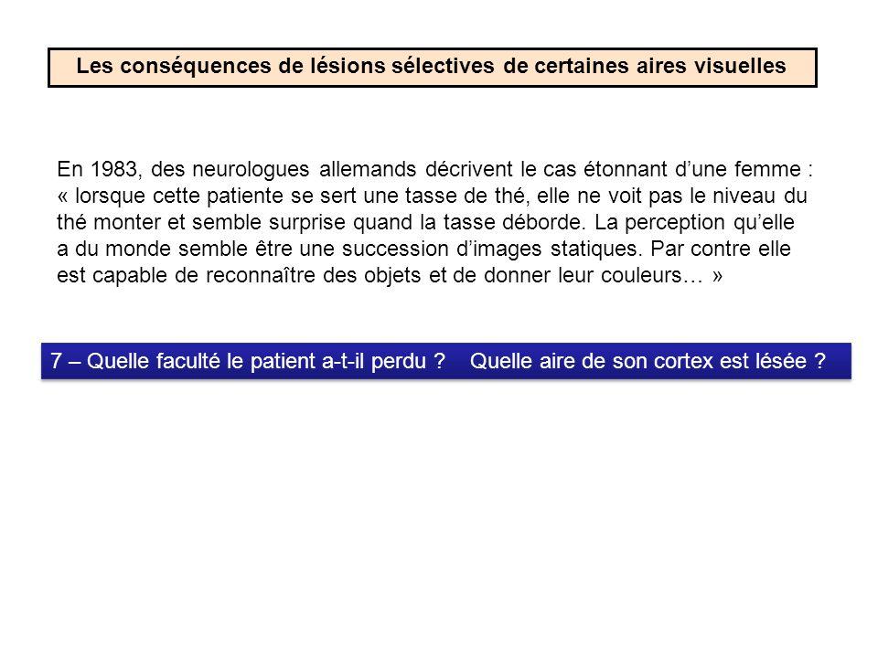 Les conséquences de lésions sélectives de certaines aires visuelles 8 – Quelle faculté le patient a-t-il perdu .