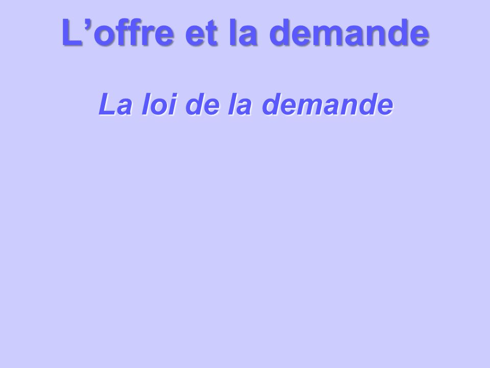 Loffre et la demande La loi de la demande