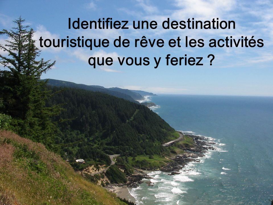 Identifiez une destination touristique de rêve et les activités que vous y feriez ?