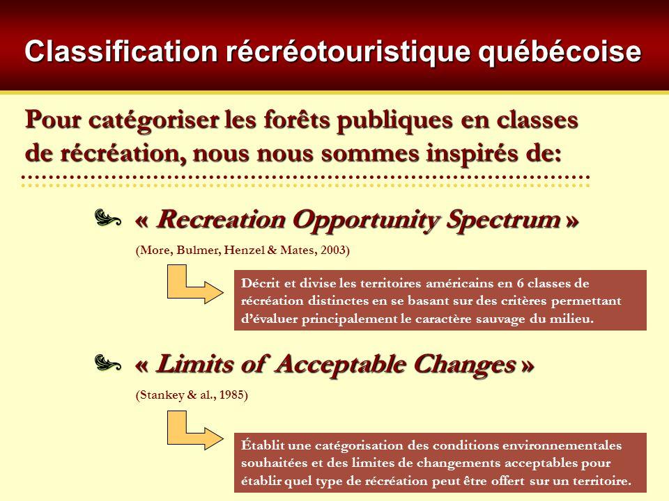 Pour catégoriser les forêts publiques en classes de récréation, nous nous sommes inspirés de: « Recreation Opportunity Spectrum » (More, Bulmer, Henzel & Mates, 2003) « Limits of Acceptable Changes » (Stankey & al., 1985) Décrit et divise les territoires américains en 6 classes de récréation distinctes en se basant sur des critères permettant dévaluer principalement le caractère sauvage du milieu.