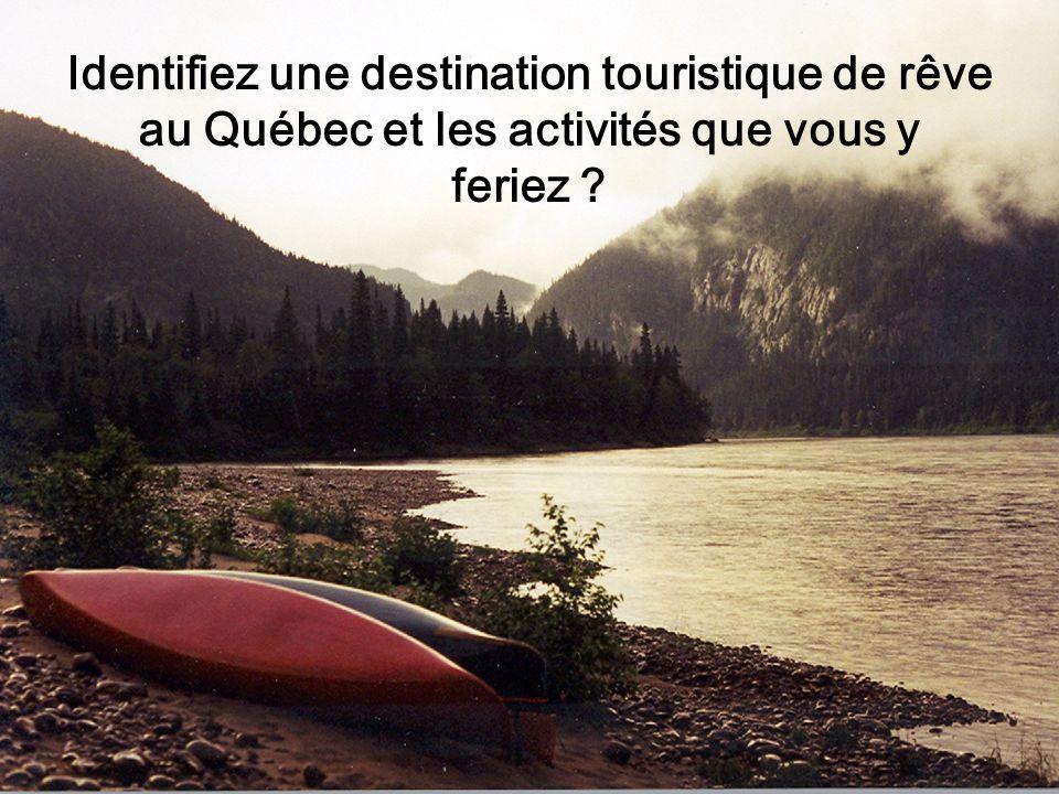 Identifiez une destination touristique de rêve au Québec et les activités que vous y feriez ?