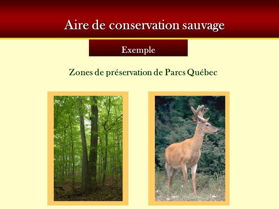 Exemple Aire de conservation sauvage Zones de préservation de Parcs Québec