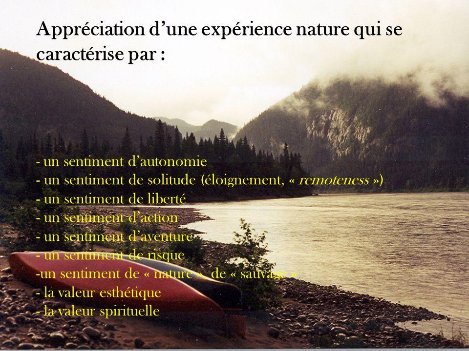 Appréciation dune expérience nature qui se caractérise par : - un sentiment dautonomie - un sentiment de solitude (éloignement, « remoteness ») - un sentiment de liberté - un sentiment daction - un sentiment daventure - un sentiment de risque - -un sentiment de « nature », de « sauvage » - - la valeur esthétique - la valeur spirituelle