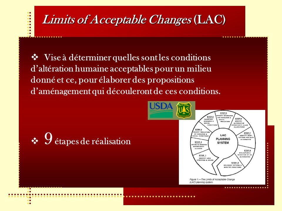 Limits of Acceptable Changes (LAC) Vise à déterminer quelles sont les conditions daltération humaine acceptables pour un milieu donné et ce, pour élaborer des propositions daménagement qui découleront de ces conditions.