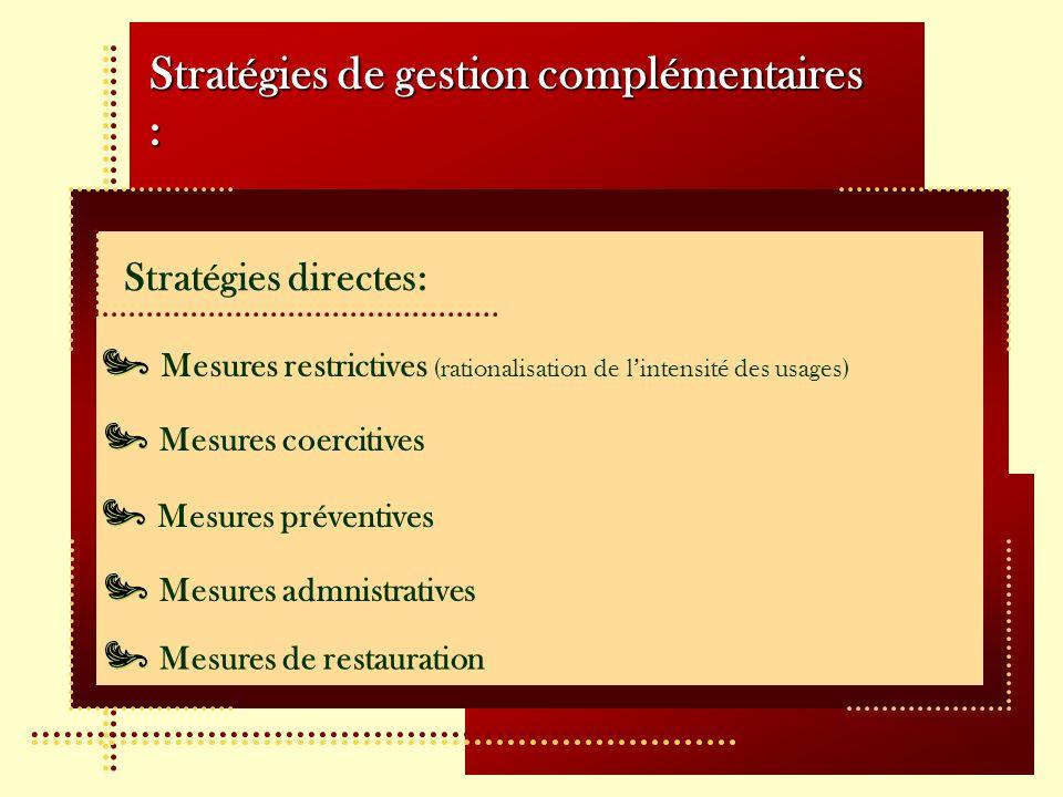 Stratégies de gestion complémentaires : Stratégies directes: Mesures restrictives (rationalisation de lintensité des usages) Mesures coercitives Mesures préventives Mesures admnistratives Mesures de restauration