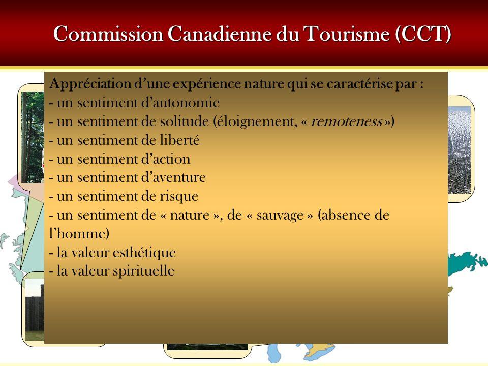 Commission Canadienne du Tourisme (CCT) Appréciation dune expérience nature qui se caractérise par : - un sentiment dautonomie - un sentiment de solitude (éloignement, « remoteness ») - un sentiment de liberté - un sentiment daction - un sentiment daventure - un sentiment de risque - un sentiment de « nature », de « sauvage » (absence de lhomme) - la valeur esthétique - la valeur spirituelle