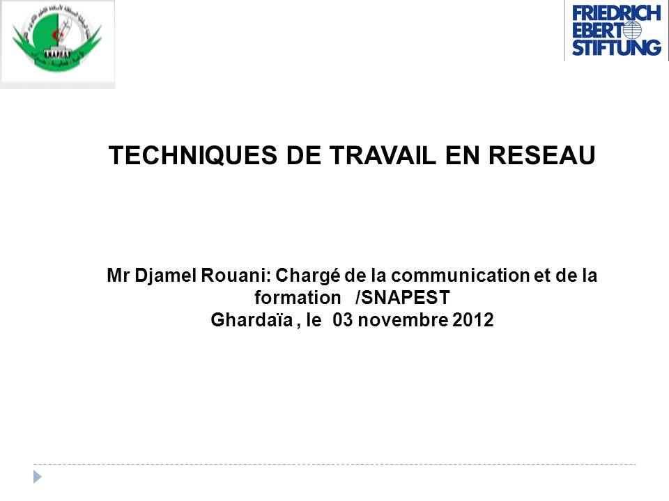 TECHNIQUES DE TRAVAIL EN RESEAU Mr Djamel Rouani: Chargé de la communication et de la formation /SNAPEST Ghardaïa, le 03 novembre 2012