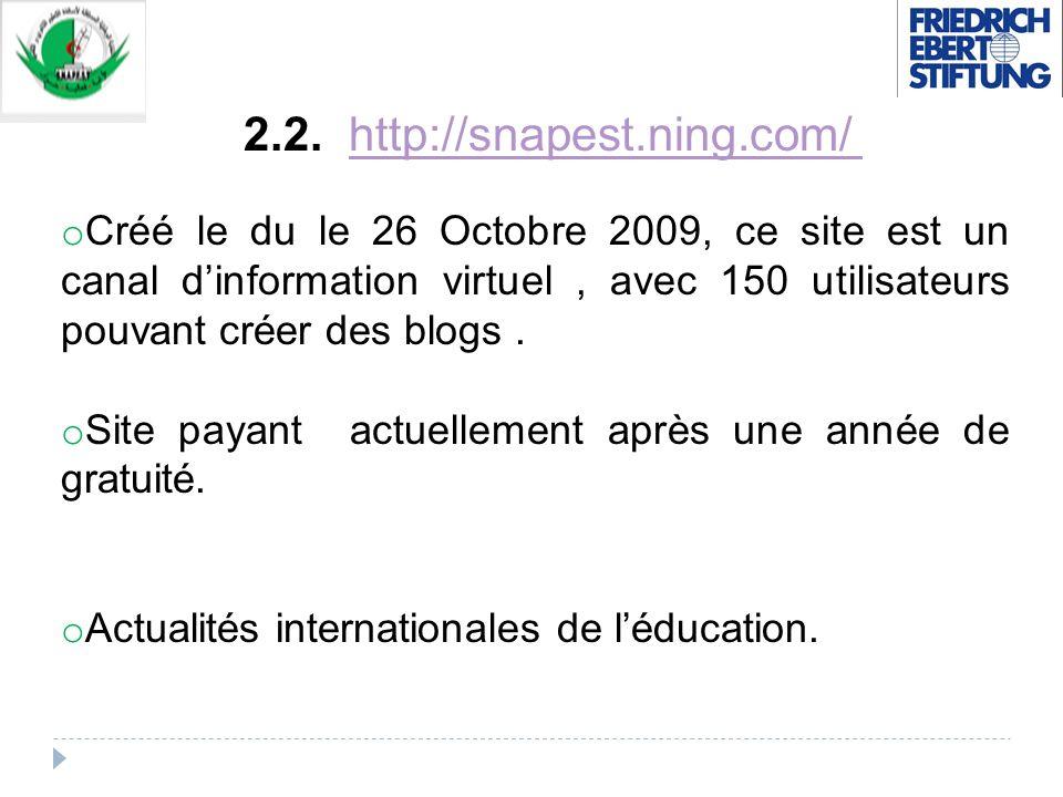 2.2. http://snapest.ning.com/http://snapest.ning.com/ o Créé le du le 26 Octobre 2009, ce site est un canal dinformation virtuel, avec 150 utilisateur