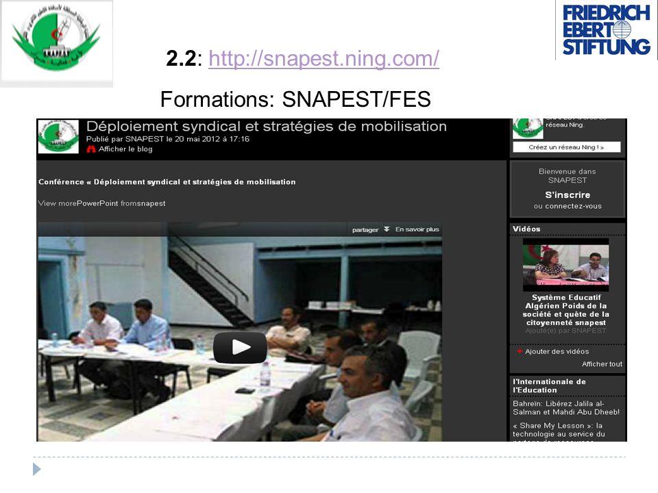 2.2: http://snapest.ning.com/http://snapest.ning.com/ Formations: SNAPEST/FES