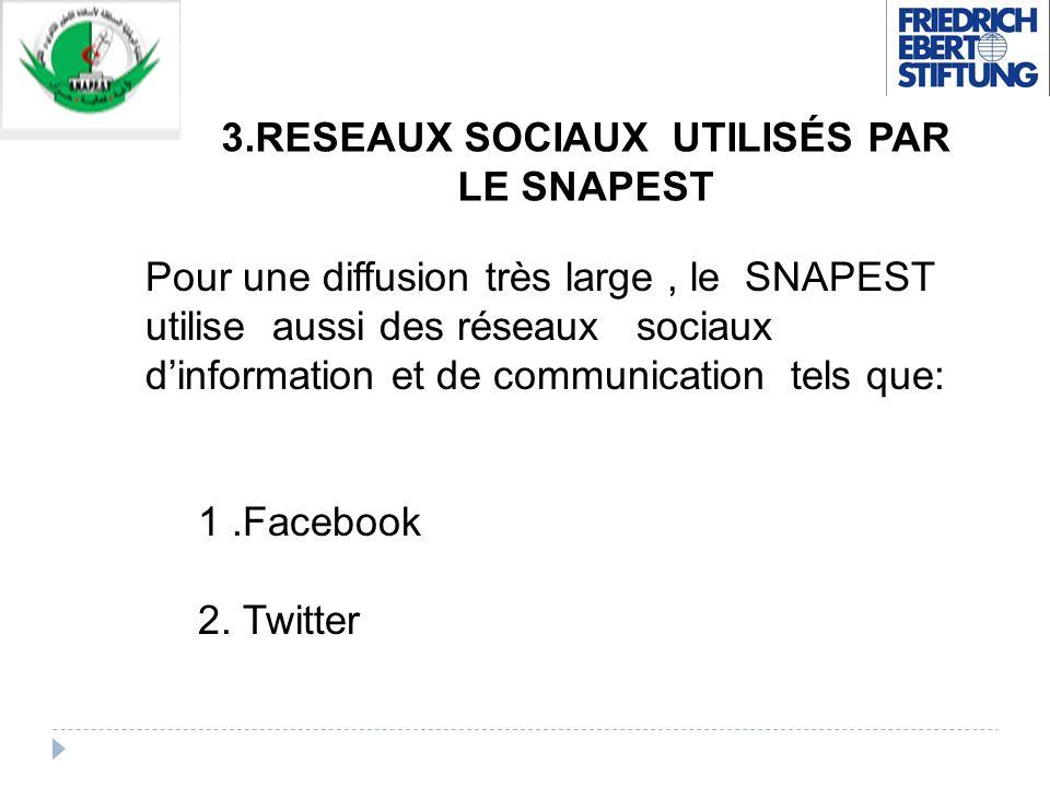 3.RESEAUX SOCIAUX UTILISÉS PAR LE SNAPEST Pour une diffusion très large, le SNAPEST utilise aussi des réseaux sociaux dinformation et de communication