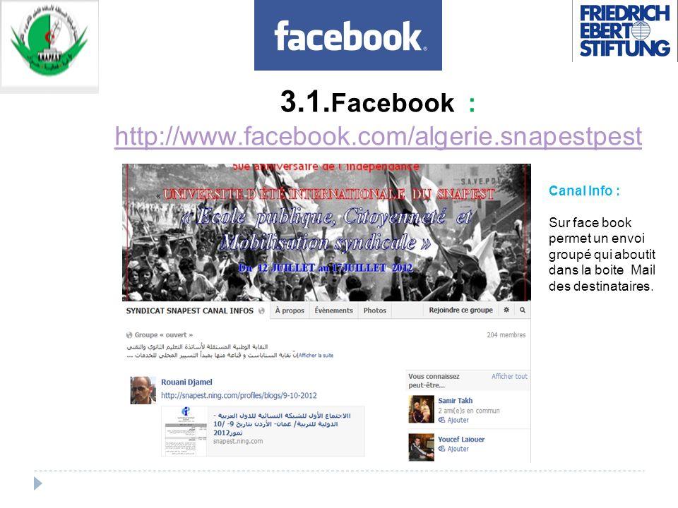 3.1. Facebook : http://www.facebook.com/algerie.snapestpest http://www.facebook.com/algerie.snapestpest Canal Info : Sur face book permet un envoi gro