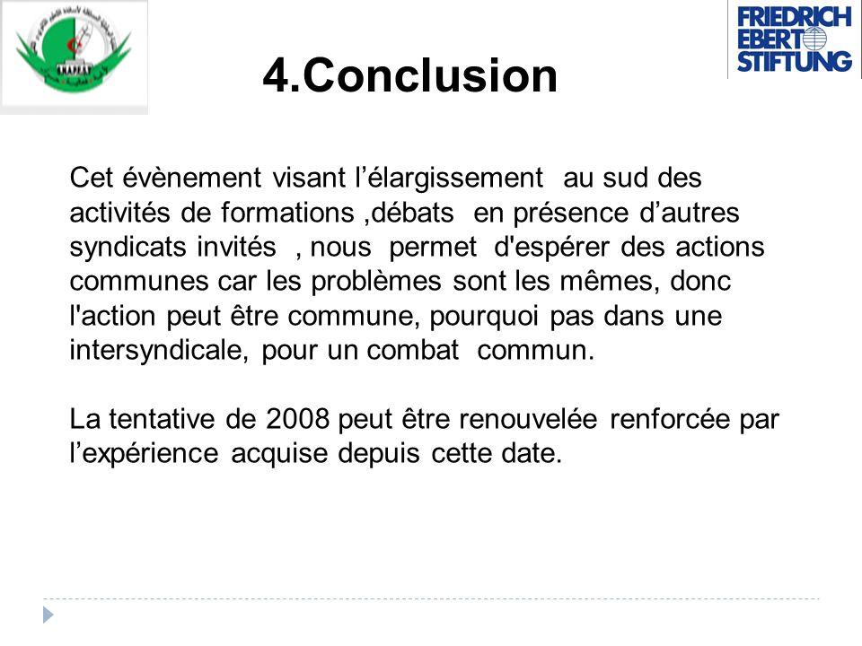 4.Conclusion Cet évènement visant lélargissement au sud des activités de formations,débats en présence dautres syndicats invités, nous permet d'espére
