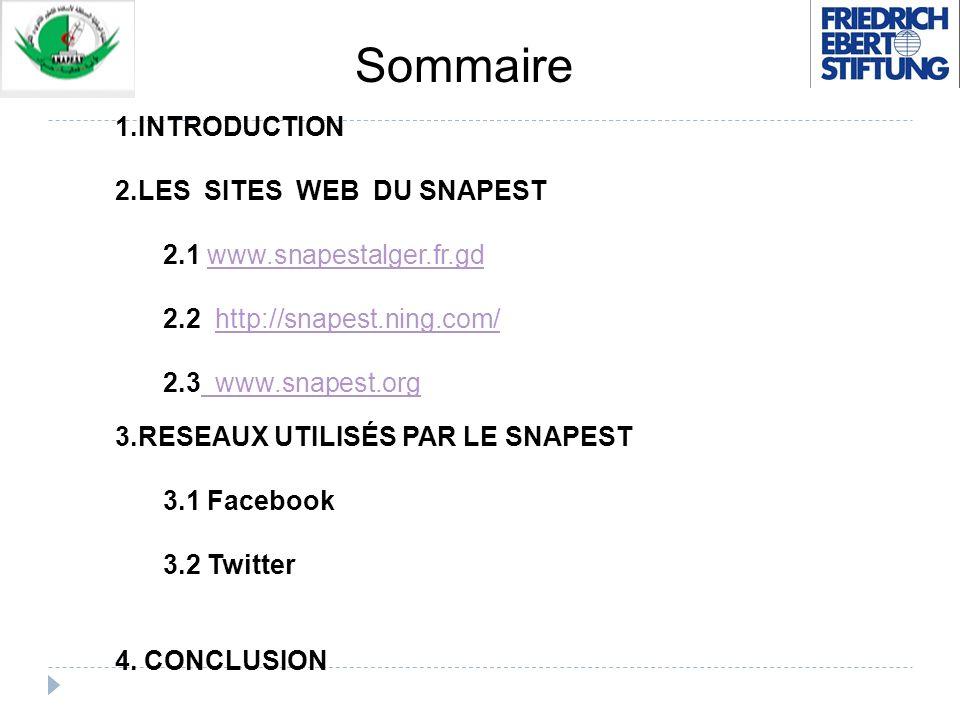 Sommaire 1.INTRODUCTION 2.LES SITES WEB DU SNAPEST 2.1 www.snapestalger.fr.gdwww.snapestalger.fr.gd 2.2 http://snapest.ning.com/http://snapest.ning.co