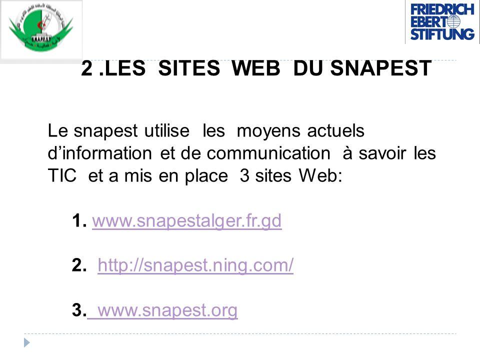 2.LES SITES WEB DU SNAPEST Le snapest utilise les moyens actuels dinformation et de communication à savoir les TIC et a mis en place 3 sites Web: 1. w