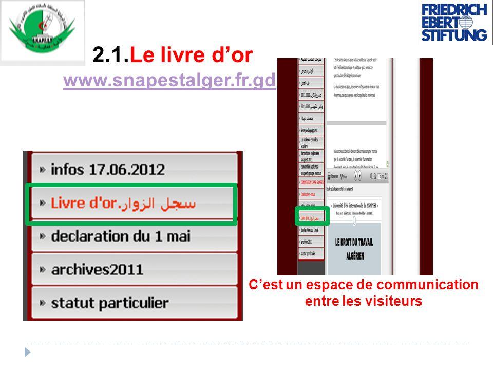 2.1.Le livre dor www.snapestalger.fr.gd www.snapestalger.fr.gd Cest un espace de communication entre les visiteurs