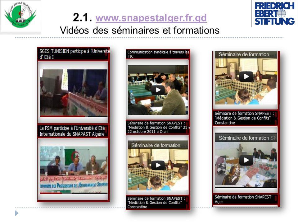 2.1. www.snapestalger.fr.gd Vidéos des séminaires et formations www.snapestalger.fr.gd