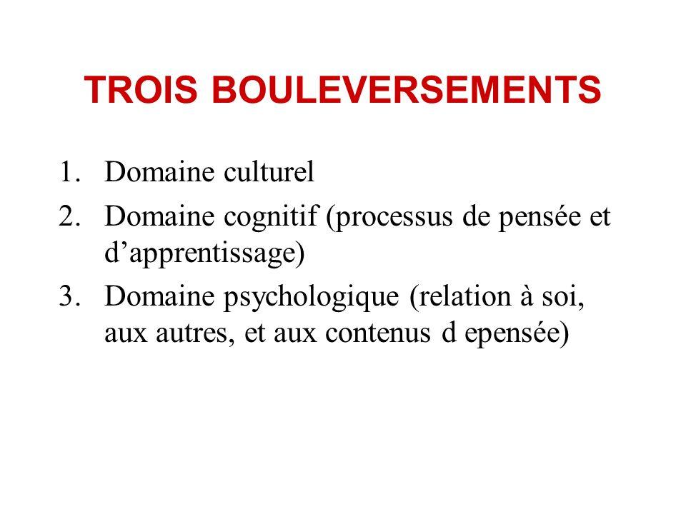 TROIS BOULEVERSEMENTS 1.Domaine culturel 2.Domaine cognitif (processus de pensée et dapprentissage) 3.Domaine psychologique (relation à soi, aux autre