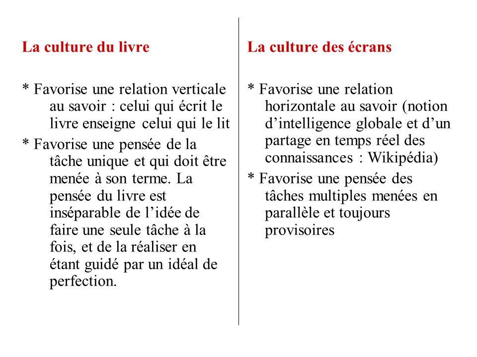 La culture du livre * Favorise une relation verticale au savoir : celui qui écrit le livre enseigne celui qui le lit * Favorise une pensée de la tâche