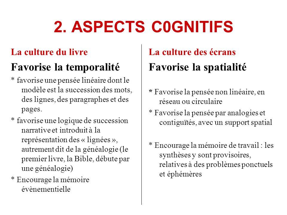 2. ASPECTS C0GNITIFS La culture du livre Favorise la temporalité * favorise une pensée linéaire dont le modèle est la succession des mots, des lignes,
