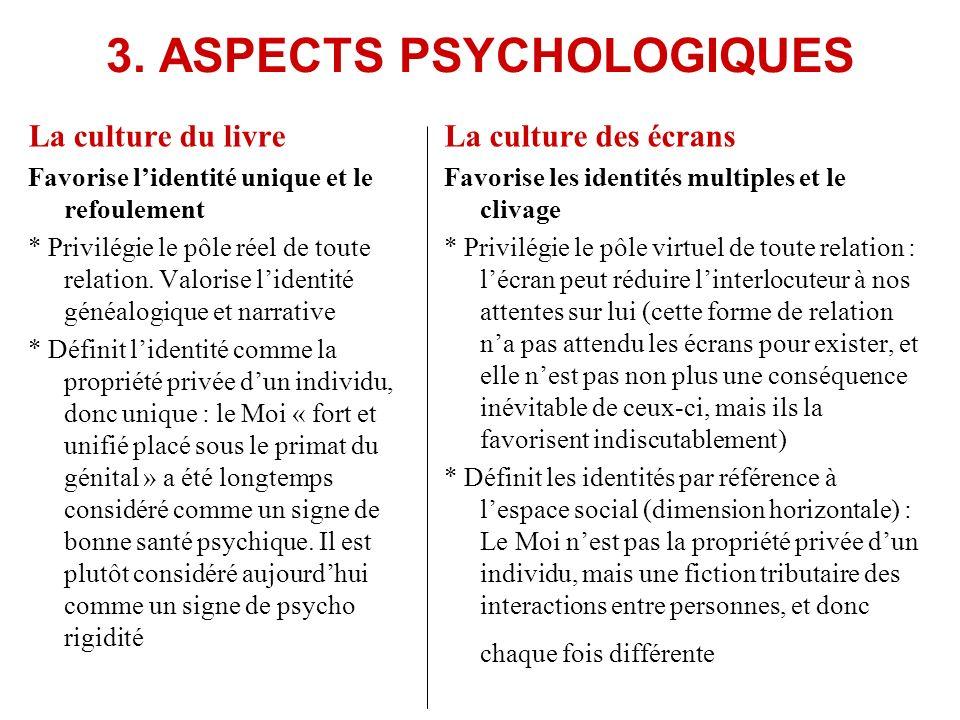 3. ASPECTS PSYCHOLOGIQUES La culture du livre Favorise lidentité unique et le refoulement * Privilégie le pôle réel de toute relation. Valorise lident