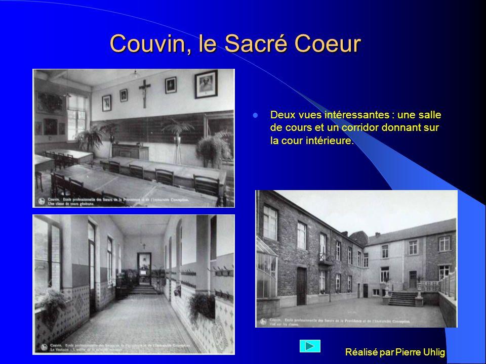 Réalisé par Pierre Uhlig Couvin, le Sacré Coeur Deux vues intéressantes : une salle de cours et un corridor donnant sur la cour intérieure.