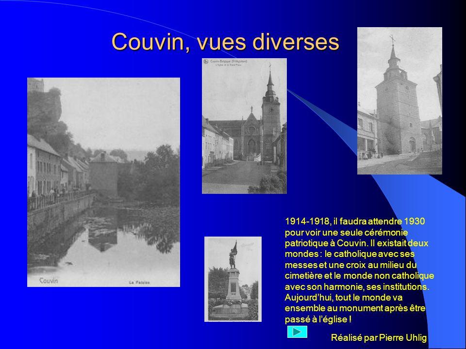Réalisé par Pierre Uhlig Couvin, vues diverses 1914-1918, il faudra attendre 1930 pour voir une seule cérémonie patriotique à Couvin. Il existait deux