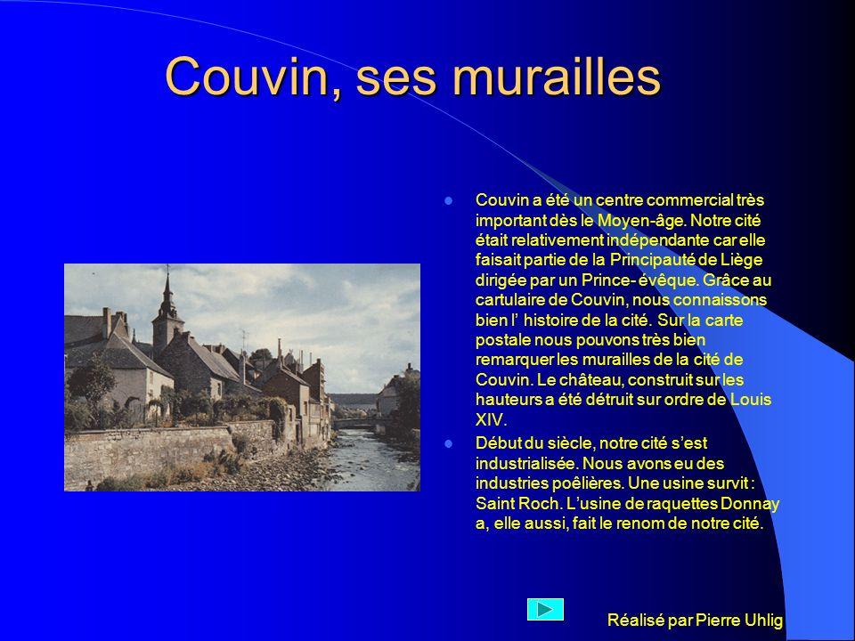 Réalisé par Pierre Uhlig Couvin, centre commercial Couvin a possédé de nombreuses usines : Saint Roch, Somy, La Couvinoise, Saint Joseph, la Maison rouge,Courthéoux, et Donnay pour ce qui concerne les articles de sport.