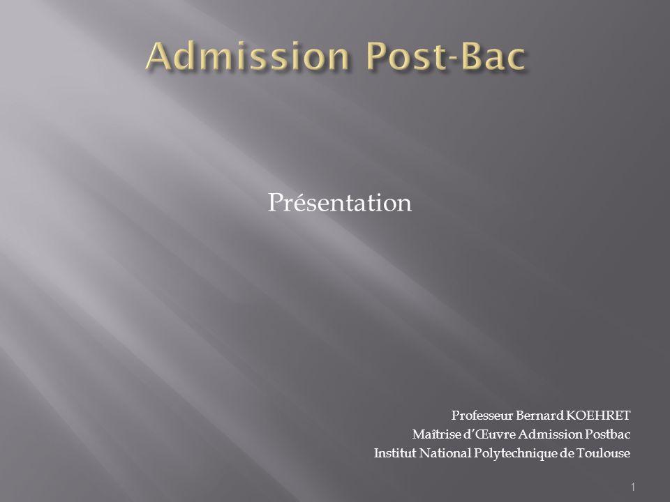 Présentation Professeur Bernard KOEHRET Maîtrise dŒuvre Admission Postbac Institut National Polytechnique de Toulouse 1