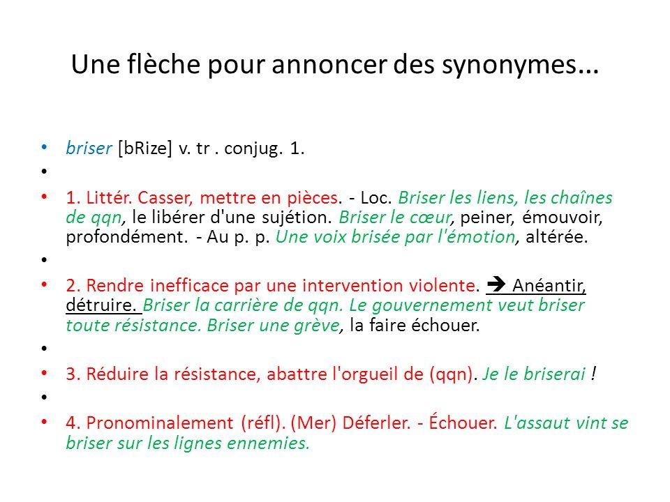 Une flèche pour annoncer des synonymes … briser [bRize] v. tr. conjug. 1. 1. Littér. Casser, mettre en pièces. - Loc. Briser les liens, les chaînes de