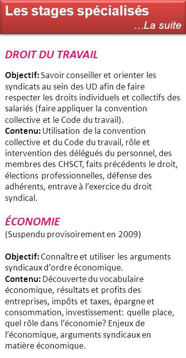 DROIT DU TRAVAIL Objectif: Savoir conseiller et orienter les syndicats au sein des UD afin de faire respecter les droits individuels et collectifs des