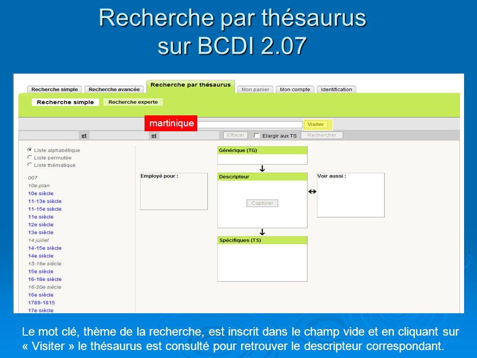 Recherche par thésaurus sur BCDI 2.07 Le mot clé, thème de la recherche, est inscrit dans le champ vide et en cliquant sur « Visiter » le thésaurus es