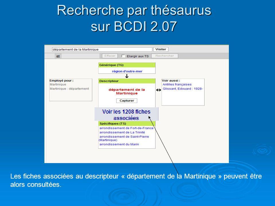Recherche par thésaurus sur BCDI 2.07 Les fiches associées au descripteur « département de la Martinique » peuvent être alors consultées.