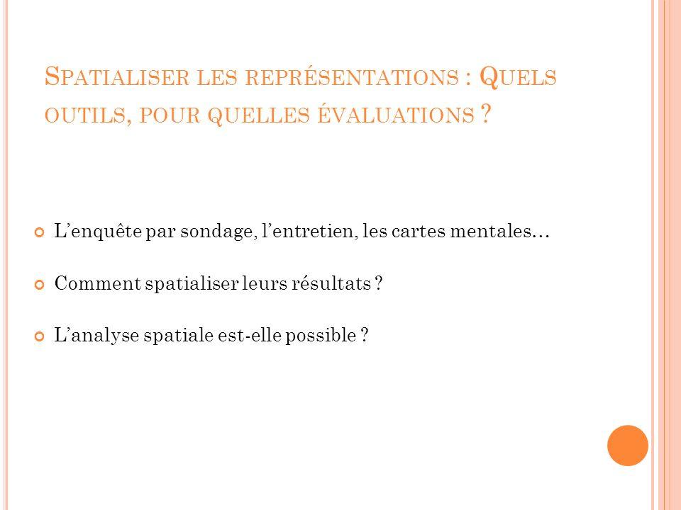 S PATIALISER LES REPRÉSENTATIONS : Q UELS OUTILS, POUR QUELLES ÉVALUATIONS .