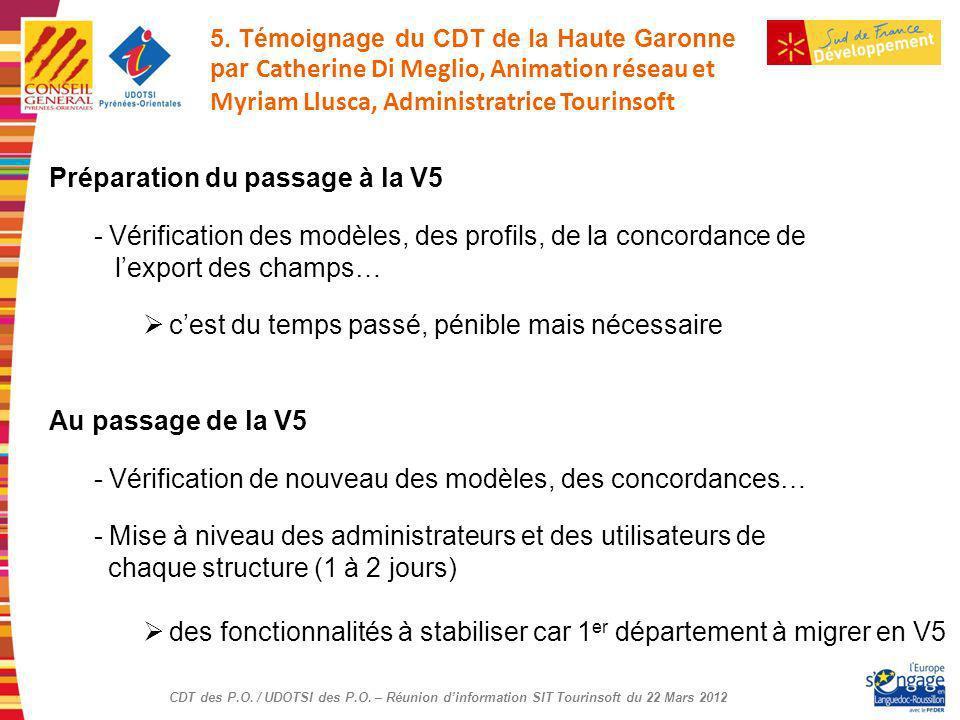 CDT des P.O. / UDOTSI des P.O. – Réunion dinformation SIT Tourinsoft du 22 Mars 2012 Préparation du passage à la V5 - Vérification des modèles, des pr
