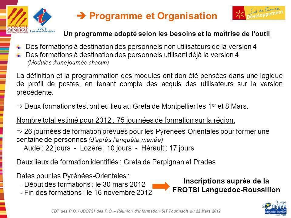 CDT des P.O. / UDOTSI des P.O. – Réunion dinformation SIT Tourinsoft du 22 Mars 2012 Un programme adapté selon les besoins et la maîtrise de loutil De