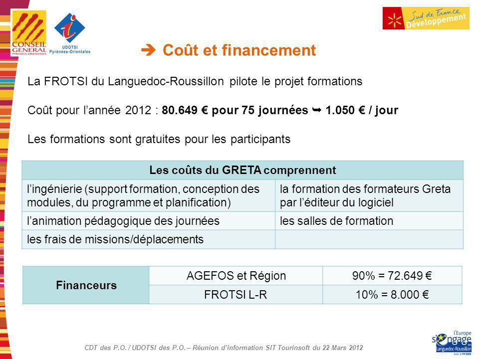 CDT des P.O. / UDOTSI des P.O. – Réunion dinformation SIT Tourinsoft du 22 Mars 2012 Coût et financement Financeurs AGEFOS et Région90% = 72.649 FROTS